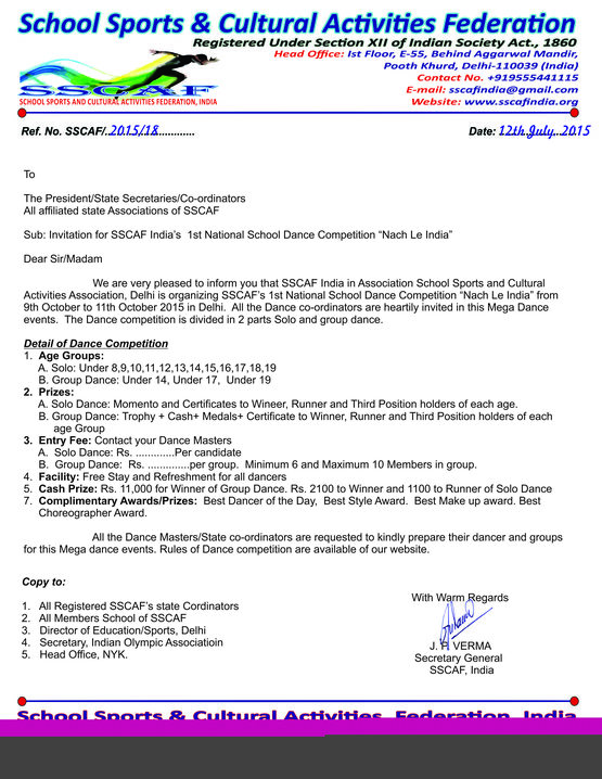 Letters sscafindia invitation for 1st national school dance competition stopboris Choice Image